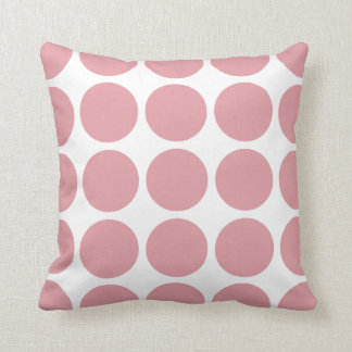 Peach Pink and White Mod Polka Dots Reversible V24 Throw Pillows
