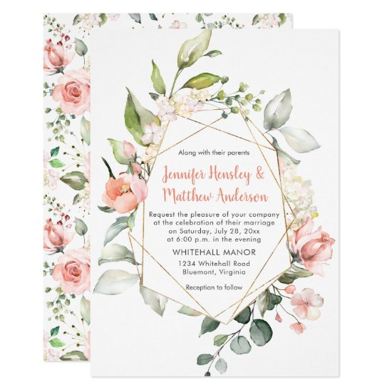 Peach Pink and White Roses Gold Geometric Frame Invitation