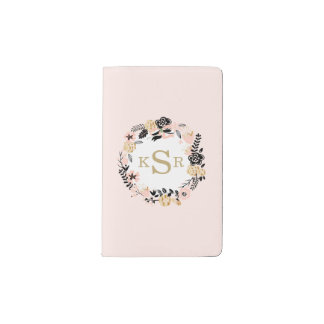 Peach Pink Black Gold Floral Wreath Monogrammed Pocket Moleskine Notebook