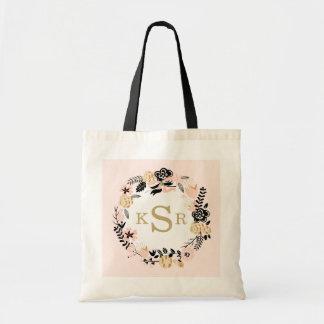 Peach Pink Black Gold Floral Wreath Monogrammed Tote Bag