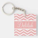 Peach Pink Chevron Custom Name Keychain