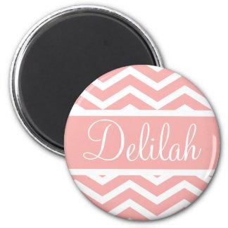 Peach Pink Chevron Custom Name Fridge Magnets