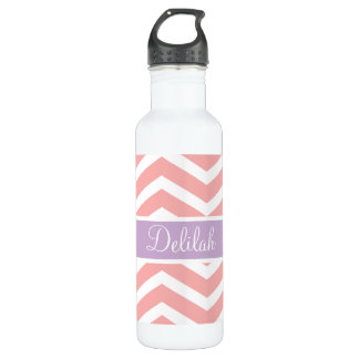 Peach Pink Chevron Purple Name Stainless Steel Water Bottle