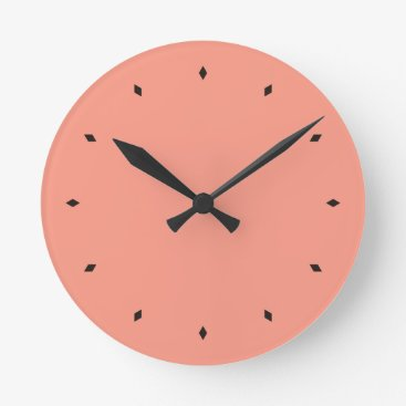Peach Pink Chic Warm Solid Color Round Clock
