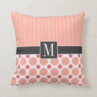 Peach, Pink, & Coral Polka Dots Throw Pillows