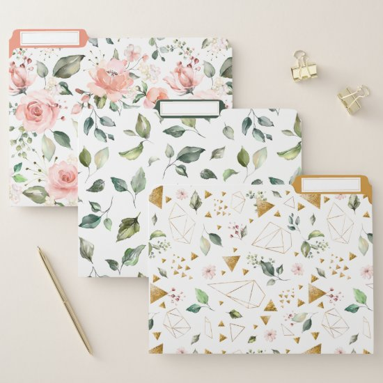 Peach Pink Floral Leaves Gold Geometric File Folder