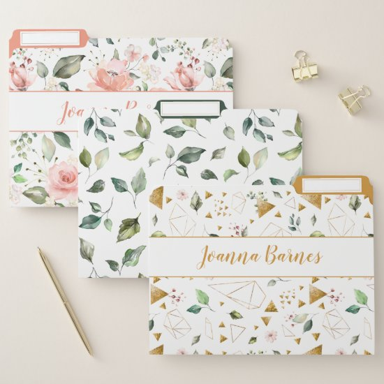Peach Pink Floral Leaves Gold Geometric Monogram File Folder