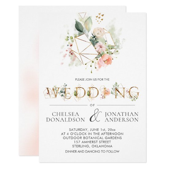 Peach Pink Floral Stylized Lettering Wedding Invitation