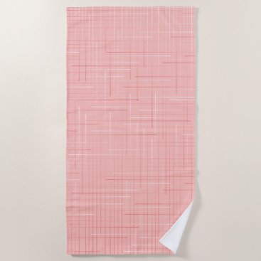 Beach Themed Peach  Pink Geometric Line Pattern Beach Towel