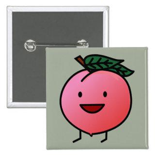 Peach Pink Happy Smiling Design Bro Button