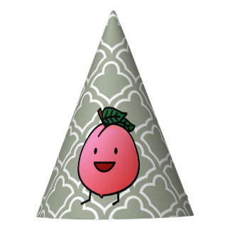 Peach Pink Happy Smiling Design Bro Party Hat