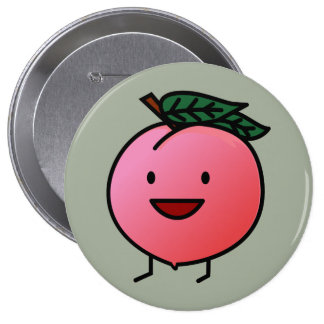 Peach Pink Happy Smiling Design Bro Pinback Button