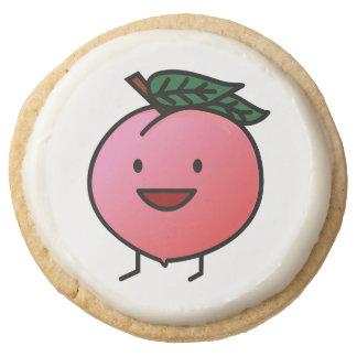 Peach Pink Happy Smiling Design Bro Round Shortbread Cookie