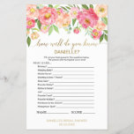 """Peach Pink &quot;How Well Do You Know The Bride&quot; Game<br><div class=""""desc"""">This peach pink &quot;how well do you know the bride&quot; game is perfect for an elegant bridal shower. The front of the game card features &quot;how well do you know the bride&quot;, and the back of the card features &quot;what&#39;s in your purse&quot;. The floral design features a beautiful arrangement of...</div>"""
