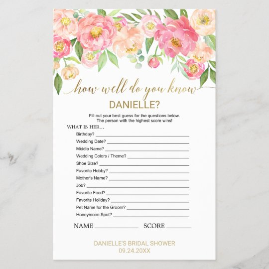 """Peach Pink """"How Well Do You Know The Bride"""" Game"""