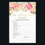 """Peach Pink &quot;How Well Do You Know The Bride&quot; Game Flyer<br><div class=""""desc"""">This peach pink &quot;how well do you know the bride&quot; game is perfect for an elegant bridal shower. The front of the game card features &quot;how well do you know the bride&quot;, and the back of the card features &quot;what&#39;s in your purse&quot;. The floral design features a beautiful arrangement of...</div>"""