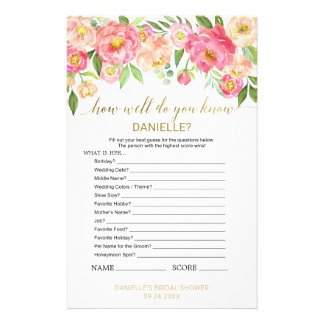 "Peach Pink ""How Well Do You Know The Bride"" Game Flyer"