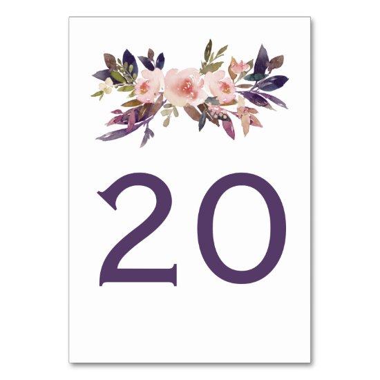 Peach Pink Lavender Purple Wildflowers Table Cards