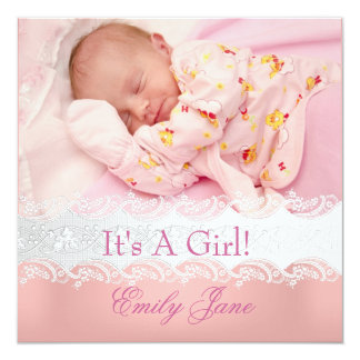 Peach Pink New Baby Girl Anouncement Photo Card