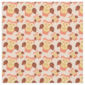 Peach pink orange owls pattern fabric