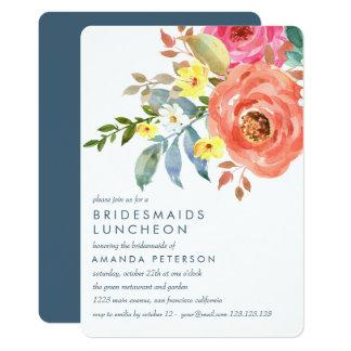 Peach  Pink Peonies Bridesmaids Luncheon Wedding Card