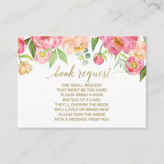 Peach & Pink Peony Book Request Invitation Insert