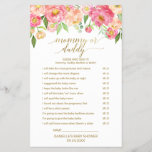 """Peach &amp; Pink Peony Flower Baby Word Scramble Game<br><div class=""""desc"""">This peach &amp; pink peony flower &quot;baby word scramble&quot; game is perfect for an elegant girls baby shower. The front of the game card features &quot;mommy or daddy?&quot;, and the back of the card features &quot;baby word scramble&quot;. The floral design features a beautiful arrangement of watercolor peonies in shades of...</div>"""