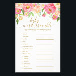 """Peach &amp; Pink Peony Flower Baby Word Scramble Game Flyer<br><div class=""""desc"""">This peach &amp; pink peony flower &quot;baby word scramble&quot; game is perfect for an elegant girls baby shower. The floral design features a beautiful arrangement of watercolor peonies in shades of blush and coral matched with dainty faux gold foil calligraphy. BABY SCRAMBLE ANSWER KEY: 1.Diaper 2.Bassinet 3.Bottle 4.Crib 5.Pacifier 6.Changing...</div>"""