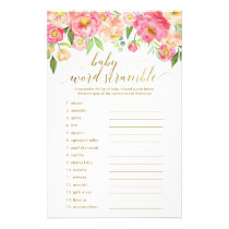 Peach & Pink Peony Flower Baby Word Scramble Game Flyer