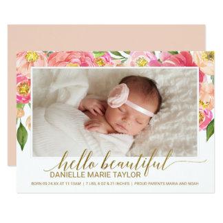 Peach & Pink Peony Flower Photo Birth Announcement