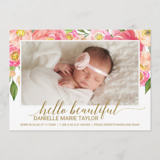 Peach & Pink Peony Flower Photo Birth Announcement