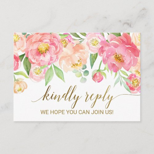 Peach & Pink Peony Flowers Song Request RSVP Card
