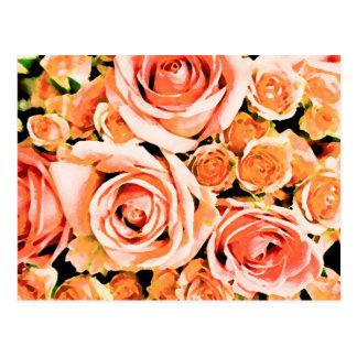 Peach pink rose bouquet postcard