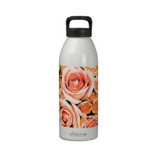Peach pink rose bouquet water bottle