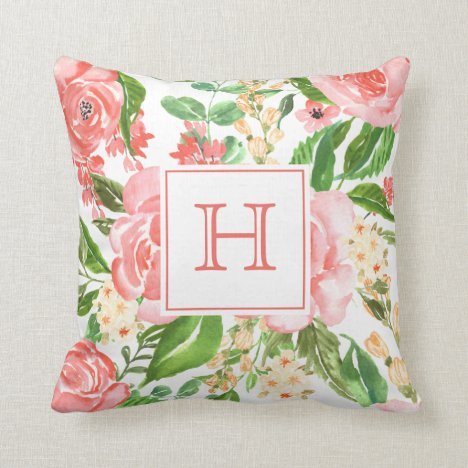 Peach Pink Rose Floral Watercolor Pretty Monogram Throw Pillow