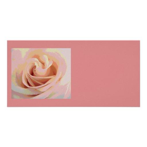 Peach Pink Rose Macro Photo Card