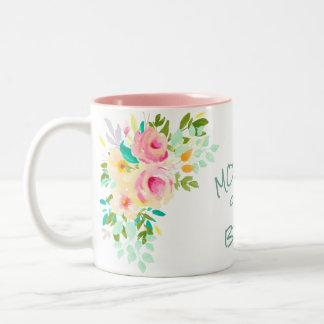 Peach Pink Roses Bride Mother Wedding Two-Tone Coffee Mug