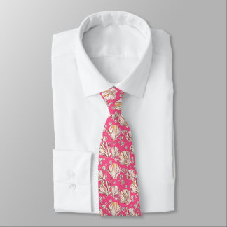 Peach, pink sea shells, coral pink background neck tie