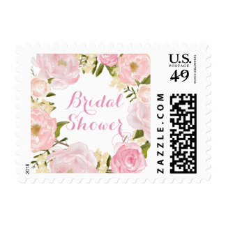 Peach Pink Spring Rose Bridal Shower Stamp