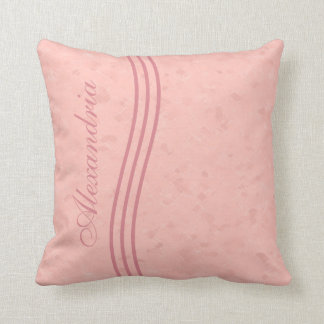Peach Pink Striped Monogram Throw Pillow