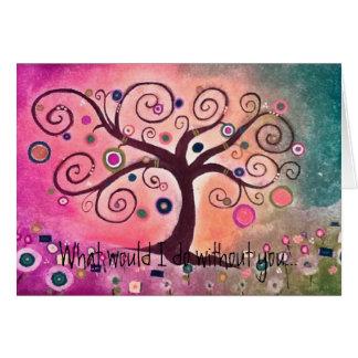 Peach Pink Tree of Life Kerra Lindsey icansketchu Card