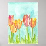 Peach Pink Tulip Pastel Watercolor Flowers Poster