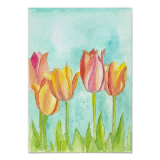 Peach Pink Tulip Pastel Watercolor Flowers Poster