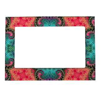 Peach Pink Turquoise Abstract Magnetic Frame