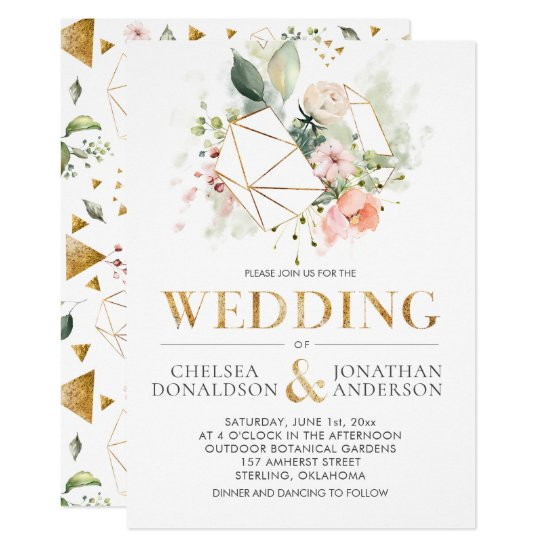 Peach Pink Watercolor Floral Terrarium Wedding Invitation
