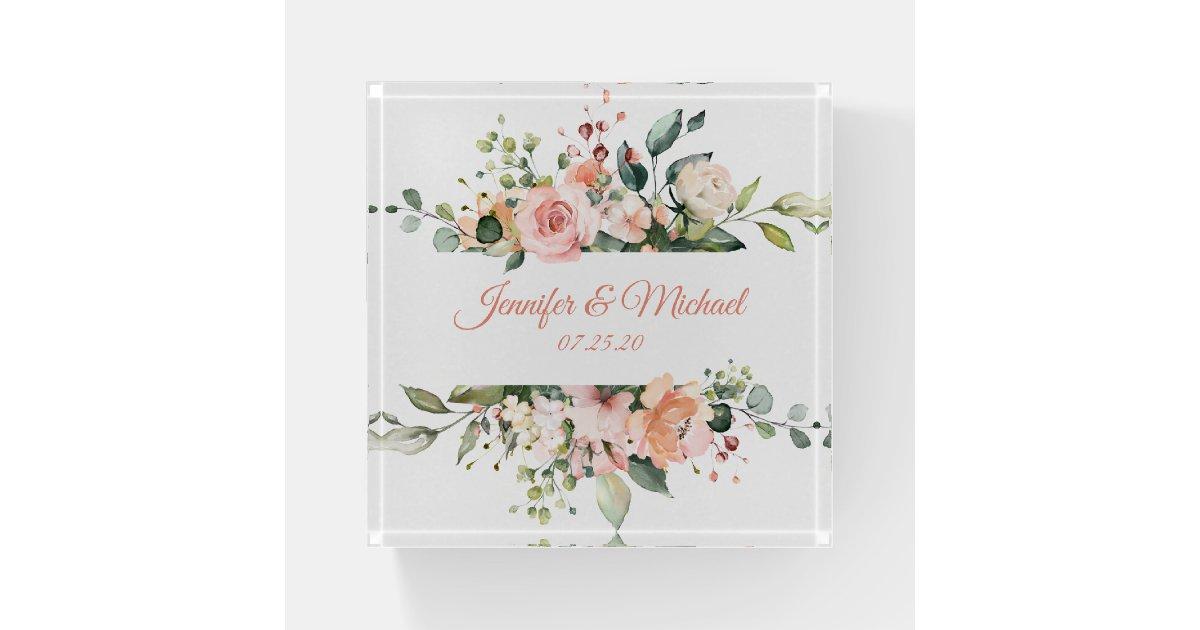 Peach Pink Watercolor Floral Wedding Keepsake Paperweight Zazzle Com
