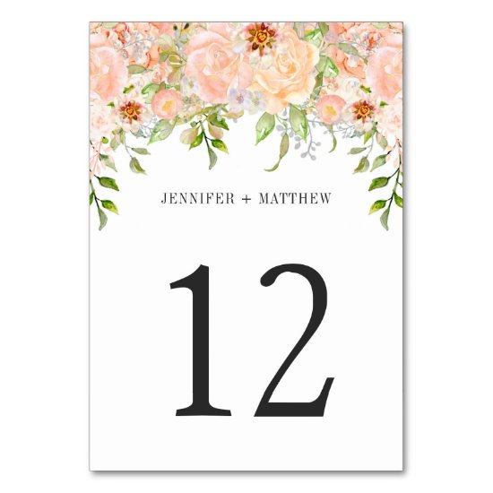 Peach Pink Watercolor Roses Table Number