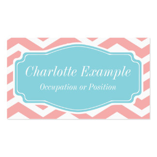 Peach Pink White Blue Chevron Personal Double-Sided Standard Business Cards (Pack Of 100)
