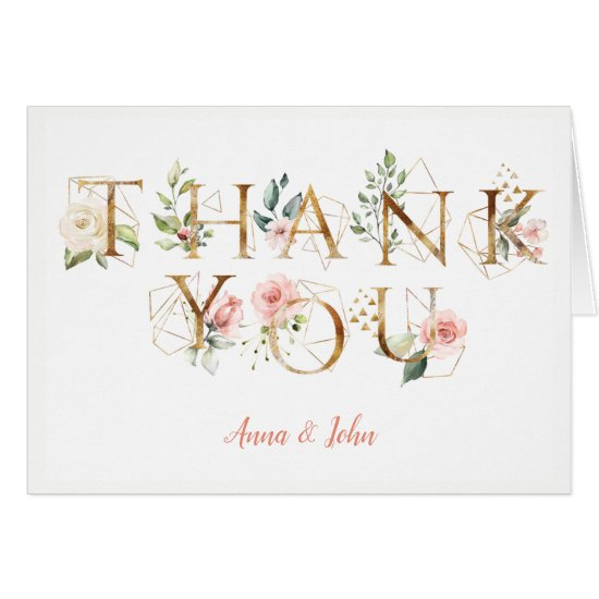 Peach Pink White Floral Alphabet Wedding Thank You
