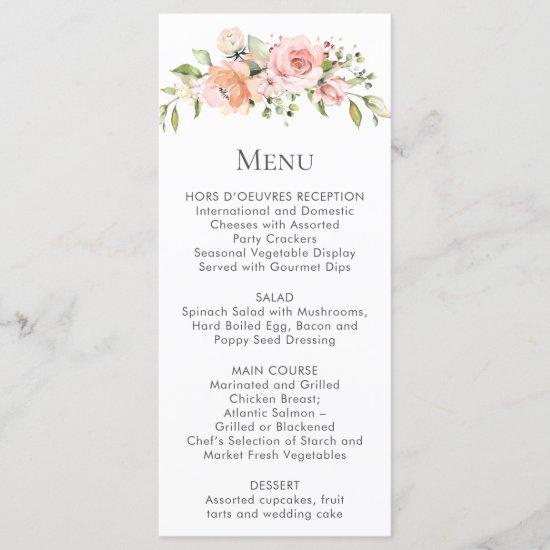 Peach Pink White Floral Bouquet Menu Rack Cards